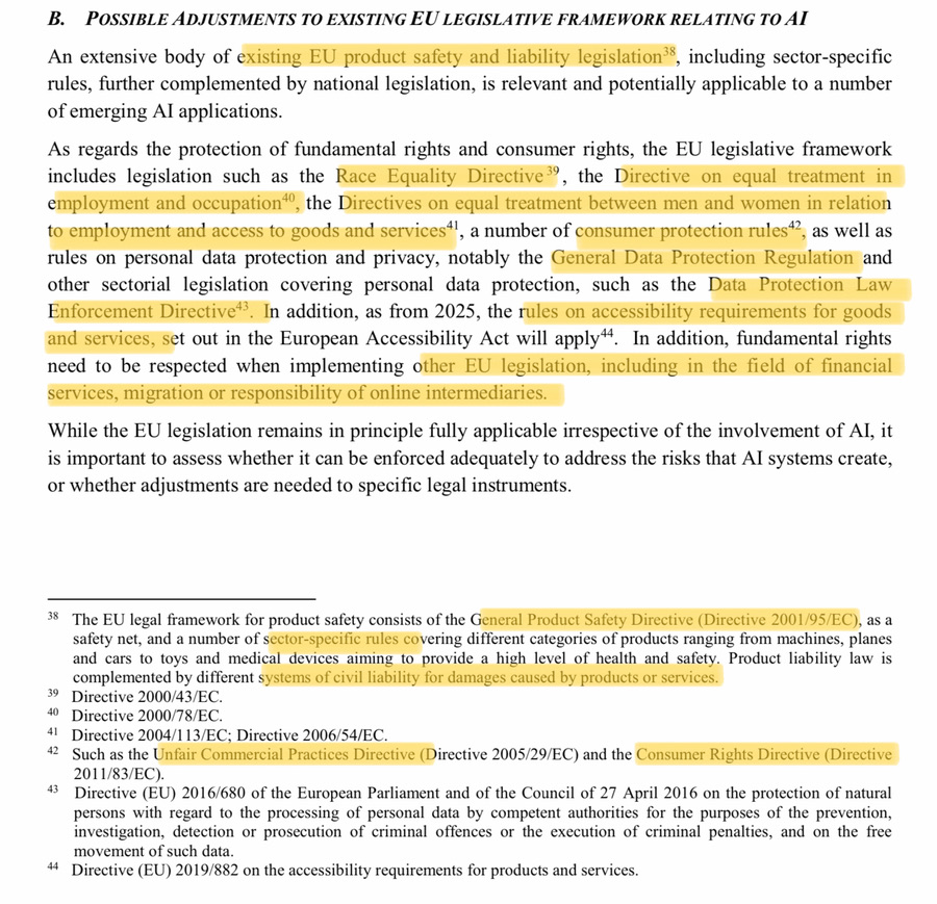 Figure 1: The existing EU Legal Framework relevant for AI applications: capture of the White Paper